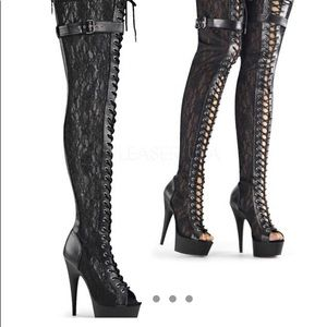 Pleaser Thigh High Lace Up Boots